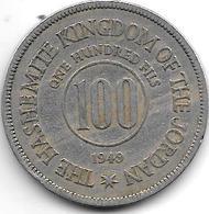 *jordan 100 Fils 1949  Km 7  Vf - Jordanie