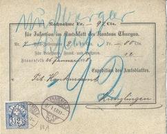 "NN Streifbandvs  ""Amtsblatt Kanton Thurgau, Frauenfeld"" - Kreuzlingen        1898 - 1882-1906 Armarios, Helvetia De Pie & UPU"