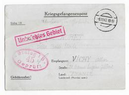 MILITARIA - 1940 - LETTRE  - PRISONNIER - STALAG 1B 45 GEPRUFT - Marcophilie (Lettres)