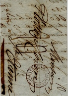 """1836 - Lettre De Londres Pour St Etienne - Taxe 24 D Entrée """" ANGLETERRE PAR CALAIS """"  Centre évidé ( Noir ? ) - Postmark Collection (Covers)"""