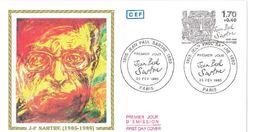 FDC Jean Paul Sartre (75 Paris 23/02/1985) - FDC