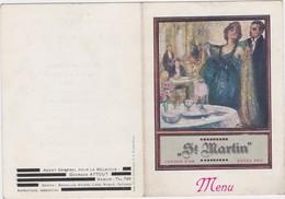 MENU-ST.MARTIN-1930-ART-DECO-ECOLE-SAFFRAENBERG-BRUSTEM-MILITARIA-ORIGINAL-VINTAGE-DEPLIANT+-10-14CM-VOYEZ LES 2 SCANS ! - Menus