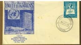PAKISTAN - 1958 - 10° ANNIVERSARIO DICHIARAZIONE DEI DIRITTI DELL'UOMO  - FDC - Pakistan