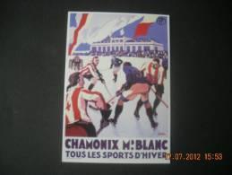 CLOUET   10602  CHAMONIX  HOCKEY SUR GLACE  BRODERS  1930                             Retirage - Winter Sports
