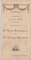 MENU-GAUFRE-BRUSTEM-HUWELIJK-SWELDENS-MARGUILLIER-1925-ORIGINAL-VINTAGE+-8,5-16,5CM-KLEINE SCHEUR MIDDEN-ONDER-2 SCANS! - Menus