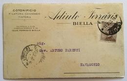 BIELLA - COTONIFICIO FERRARIS  CARTOLINA COMMERCIALE  1926 FP - Biella