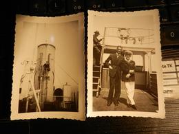 19821) NAVE LEONARDO DA VINCI ITALIANO CON COMANDANTE E ALTRA  DATATA AL RETRO 1934 - Barche