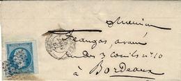 1862- Enveloppe De N_Libourne ( Gironde ) Avec N°14  SUPERBES Marges Dont Bord De Feuille - Marcofilia (sobres)