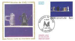 FDC Tableau Nicolas De Stael Nature Morte Au Chandelier (06 Antibes 01/06/1985) - FDC