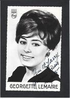 Autographe Signature à L'encre Georgette Lemaire Sur Carton Publicitaire Philips - Autographes