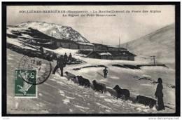 CPA ANCIENNE FRANCE- SOLLIERES-SARDIERES (73)- RAVITAILLEMENT DU POSTE AVEC ATTELAGE CHIENS DE TRAINEAUX- GROS PLAN - Frankreich