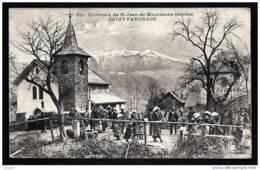CPA ANCIENNE FRANCE- SAINT-PANCRACE (73)- SORTIE DE L'EGLISE EN HIVER- TRES BELLE ANIMATION GROS PLAN - Frankreich