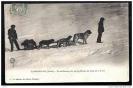 CPA ANCIENNE FRANCE- LANSLEBOURG (73)- RAVITAILLEMENT FAIT PAR LES CHIENS DE TRAINEAU- ATTELAGE GROS PLAN ANIMÉ - Frankreich