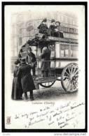 CPA PRECURSEUR FRANCE- PARIS (75)- CONDUCTEUR D'OMNIBUS HIPPOMOBILE A ÉTAGE EN 1900- TRES GROS PLAN ANIMÉ - Nahverkehr, Oberirdisch