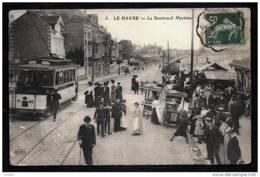 CPA ANCIENNE FRANCE- LE HAVRE (76)- LE BOULEVARD MARITIME- TRES BELLE ANIMATION- MARCHANDS DE GLACES- TRAMWAY GROS PLAN - Le Havre