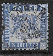 BADEN - YVERT N° 18 OBLITERE - COTE = 30 EUR. - Baden