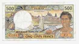 Billet De 500 Francs Institut D'émission D'outre Mer Papeete Non Daté - Papeete (French Polynesia 1914-1985)