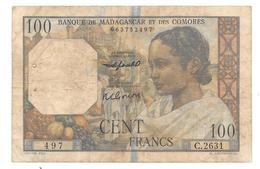 Billet De 100 Francs Banque De Madagascar Et Des Comores Non Daté - Papeete (Polynésie Française 1914-1985)