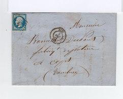 Sur Pli Type Napoléon III 20 C Bleu Obliter. Losange. CAD Alle 1860. Cachet Ambulants, Apt Et Avignon. (896) - Marcophilie (Lettres)