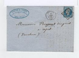 Sur Pli Avec Courrier Type Napoléon III Non Lauré 20 C. Bleu Obl. Losange. CAD Toulouse 1861.(897) - Marcophilie (Lettres)
