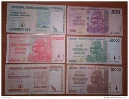 Zimbabwe Lot Of 6 Different Banknotes - Zimbabwe