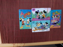 4 Phonecards Disney (Mint,Neuve) 2 Scans Rare - Disney