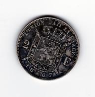 Très Belle 2 Francs 1867 Léopold II   TTB à SUP - 1865-1909: Leopold II