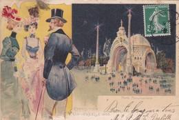 PARIS,,,,EXPOSITION  UNIVERSELLE,,,,,,,PLACE  MONUMENTALE,,,,,SUPERBE CARTE COLORISEE ,,,,VOYAGE   1908,,,rare,,, - Expositions