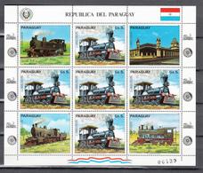 Paraguay 1982,5V In KB,railway,trains,treinen,züge,trenes,treniMNH/Postfris(L3366) - Treinen