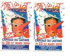 Zakkalender 2 Stuks:pcs Stavelot Carnaval Carnival  Calendrier De Poche Pocket Calendar Taschenkalender Kalender - Calendriers
