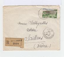 Sur Enveloppe Recommandé 0,85 F. Oblitéré CAD Birmandreis Alger 1962. CAD Saillans Drôme. (900) - Marcophilie (Lettres)