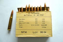 BOITE DE 20 CARTOUCHES 7.62 MM Mle 1949 NEUTRALISÉES - Armes Neutralisées