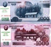 North Korea Set Of 1.000 + 2000 Won, P-NEW (2018) - 70 Years DPRK Commemorative Note - (UNC) - Corée Du Nord