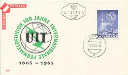 DC-1409 - FDC 1965 - 100 YEARS TELECOMMUNICATION ITU - UIT - MORSE TELEPHONE TELEGRAPH SATELLITE - AUSTRIA - FDC