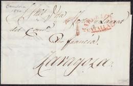 """1840.BARCELONA A ZARAGOZA. """"BARCELONA/CATALUÑA"""" ROJO. ANOTACIÓN """"POR FRANCIA"""". PORTEO """"7"""" CUARTOS. RARA. MUY INTERESANTE - ...-1850 Prefilatelia"""