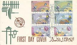DC-1412 - FDC 1966 - 100 YEARS TELECOMMUNICATION ITU - UIT - MORSE TELEPHONE TELEGRAPH SATELLITE - RAS AL KHAIMA - Telecom