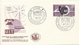 DC-1413 - FDC 1965 - 100 YEARS TELECOMMUNICATION ITU - UIT - MORSE TELEPHONE TELEGRAPH SATELLITE - BELGIUM - Telecom
