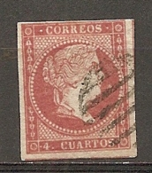 1856- Yv. N°  39  (o)  4c  Filigrane Grille   Isabelle Cote  2,4 Euro BE   2 Scans - 1850-68 Regno: Isabella II