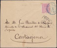 """1897. MADRID A CARTAGENA. SELLO ROSA CONGRESO. MAT. AZUL ESTAFETA DEL CONGRESO. MARCA """"DESPUES/DE/LA/SALIDA. LLEGADA. - 1889-1931 Reino: Alfonso XIII"""