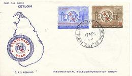 DC-1421 - FDC 1965 - 100 YEARS TELECOMMUNICATION ITU - UIT - MORSE TELEPHONE TELEGRAPH SATELLITE - CEYLON - Sri Lanka (Ceylon) (1948-...)