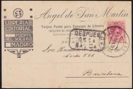"""1910. MADRID A BARCELONA. 10 CTS. ROJO. MAT. FECHADOR. MARCA """"DESPUES/DE/LA/SALIDA"""". BONITA TARJETA CON ESTA ASOCIACIÓN. - 1889-1931 Reino: Alfonso XIII"""