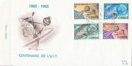 DC-1424 - FDC 1965 - 100 YEARS TELECOMMUNICATION ITU - UIT - MORSE TELEPHONE TELEGRAPH SATELLITE - CONGO - FDC