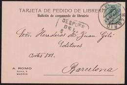 """1903. VALENCIA. CORREO INTERIOR. 5 CTS. VERDE MAT. FECHADOR """"DESPUES/DE/LA/SALIDA"""" RECUADRADO NEGRO. RARA POSTAL DE AMOY - 1889-1931 Reino: Alfonso XIII"""