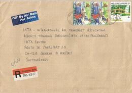 Singapore 1992 Peace Centre SPO Sailing Olympic Games Barcelona Pelican Swan Registered IATA Cover - Singapore (1959-...)