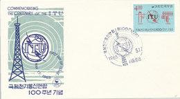 DC-1426 - FDC 1965 - 100 YEARS TELECOMMUNICATION ITU - UIT - MORSE TELEPHONE TELEGRAPH SATELLITE - SOUTH KOREA - Korea, South