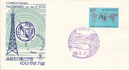 DC-1427 - FDC 1965 - 100 YEARS TELECOMMUNICATION ITU - UIT - MORSE TELEPHONE TELEGRAPH SATELLITE - SOUTH KOREA - Korea, South