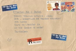Singapore 1992 Peace Centre SPO Swimming Olympic Games Barcelona Hinduism $5 Registered IATA Cover - Singapore (1959-...)