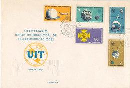 DC-1428 - FDC 1965 - 100 YEARS TELECOMMUNICATION ITU - UIT - MORSE TELEPHONE TELEGRAPH SATELLITE - CUBA - FDC