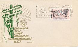 DC-1433 - FDC 1965 - 100 YEARS TELECOMMUNICATION ITU - UIT - MORSE TELEPHONE TELEGRAPH SATELLITE - SPAIN - Telecom