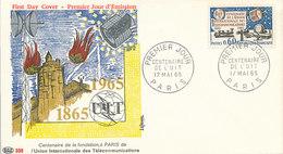 DC-1436 - FDC 1965 - 100 YEARS TELECOMMUNICATION ITU - UIT - MORSE TELEPHONE TELEGRAPH SATELLITE - FRANCE - Telecom
